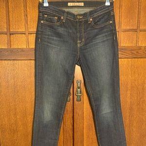 J Brand dark denim wash jeans.
